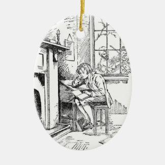 Un muchacho solo adorno navideño ovalado de cerámica