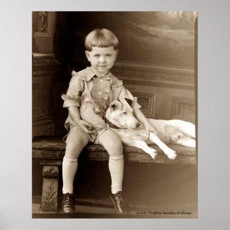 Un muchacho y su perro impresiones