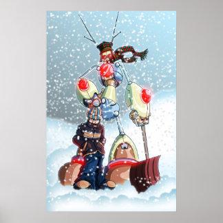 Un muchacho y su robot en invierno póster
