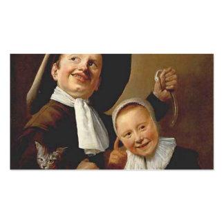 Un muchacho y un chica con un gato, una anguila de tarjetas de visita