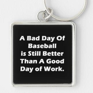 Un mún día de béisbol llavero cuadrado plateado