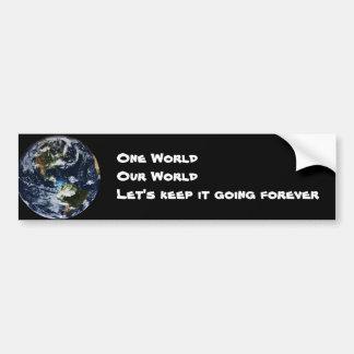 Un mundo nuestra pegatina para el parachoques del  pegatina para auto