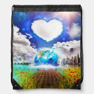 Un mundo, una mochila del lazo del corazón