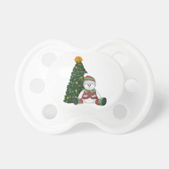 Un muñeco de nieve para el navidad chupetes de bebe