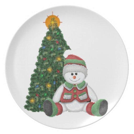 Un muñeco de nieve para el navidad plato