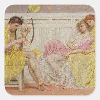 Un músico, c.1867 (aceite en lona) calcomanía cuadradas