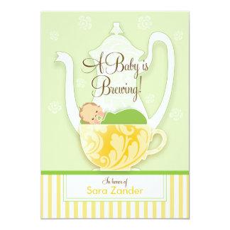 Un neutral del género de la fiesta del té el | de invitación 12,7 x 17,8 cm