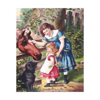 Un niño con la pintura del vintage del caballo y impresion en lona