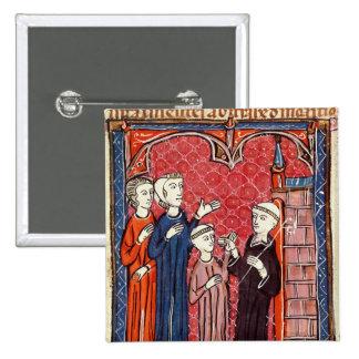 Un niño traído a un monasterio por sus padres pin cuadrada 5 cm