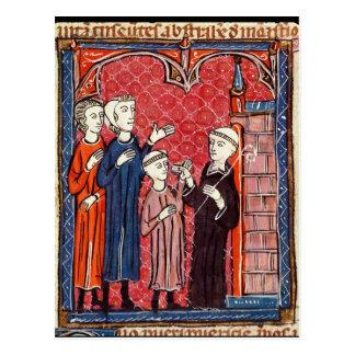 Un niño traído a un monasterio por sus padres postales