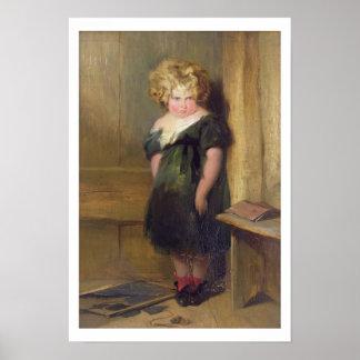 Un niño travieso (aceite en lona) poster