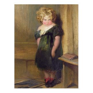 Un niño travieso (aceite en lona) tarjeta postal