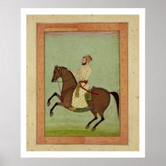 Un noble de Mughal a caballo, c.1790, del Larg Póster