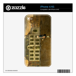 Un noble joven que se coloca antes de una mansión  calcomanías para iPhone 4S