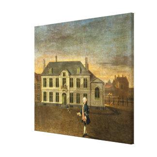 Un noble joven que se coloca antes de una mansión  lienzo envuelto para galerias