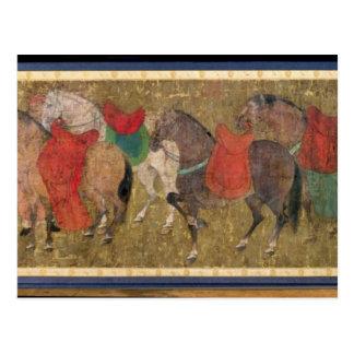 Un novio con los caballos tarjetas postales