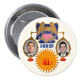 """Un nuevo día"""" Romney/Ryan Pin Redondo 7 Cm"""