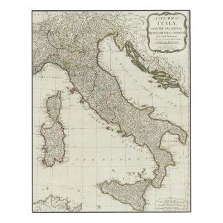 Un nuevo mapa de Italia con las islas de Sicilia Impresión En Madera