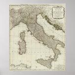 Un nuevo mapa de Italia con las islas de Sicilia Póster