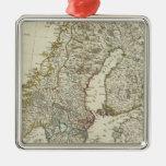 Un nuevo mapa de los estados septentrionales adorno navideño cuadrado de metal