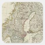 Un nuevo mapa de los estados septentrionales pegatina cuadrada