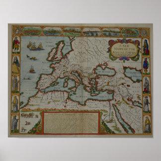 Un nuevo mapa del imperio romano posters