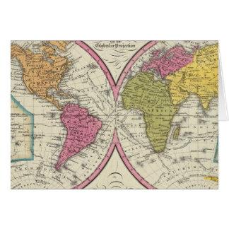 Un nuevo mapa del mundo en la proyección globular tarjetas