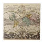 Un nuevo mapa del mundo entero con los vientos azulejo cuadrado pequeño