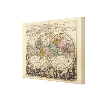 Un nuevo mapa del mundo entero con los vientos com impresión en lona estirada