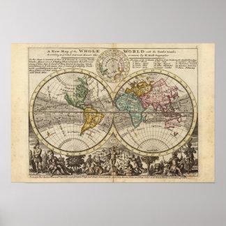 Un nuevo mapa del mundo entero con los vientos com póster