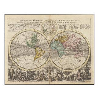 Un nuevo mapa del mundo entero con los vientos impresión en madera
