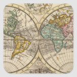 Un nuevo mapa del mundo entero con los vientos pegatina cuadrada