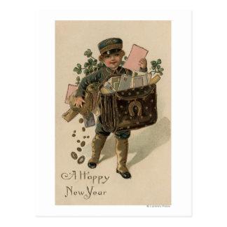 Un nuevo muchacho feliz del correo de YearIrish Postal