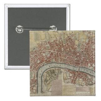 Un nuevo y exacto plan de las ciudades de Londres  Pin Cuadrada 5 Cm
