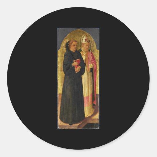 Un obispo Saint y santo Nicholas de Tolentino Pegatina Redonda