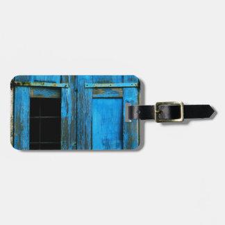 Un obturador azul viejo rústico hermoso Grecia de  Etiquetas Bolsa