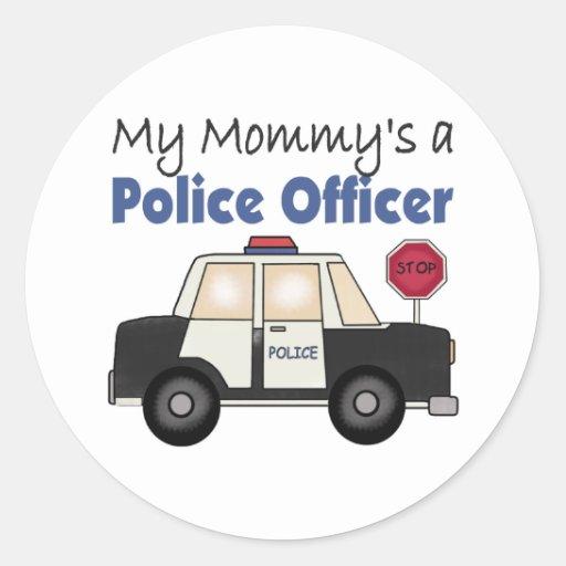 Un oficial de policía de la mamá pegatina redonda