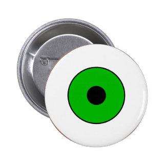 Un ojo verde pin redondo de 2 pulgadas