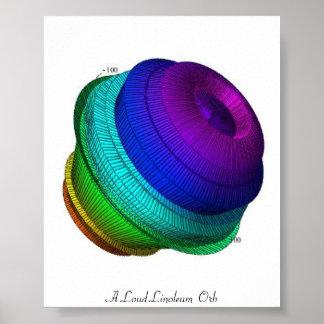Un orbe ruidoso del linóleo póster