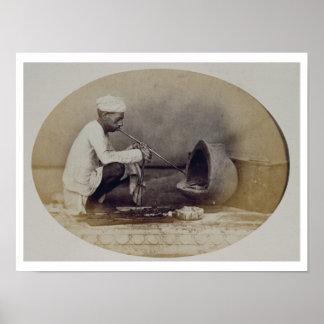 Un orfebre hindú en Delhi, siglo XIX (sepia pH Póster