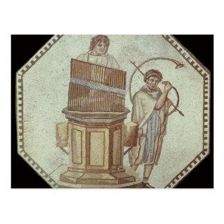 Un organista y un jugador de cuerno entretienen postal