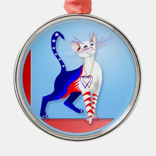 Un ornamento americano del gato adorno navideño redondo de metal