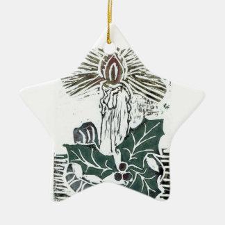 Un ornamento del navidad de la puntilla de la vela adorno navideño de cerámica en forma de estrella