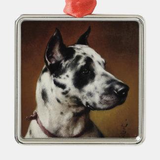 Un ornamento del premio de great dane adorno navideño cuadrado de metal