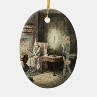 Un ornamento del villancico del navidad adorno ovalado de cerámica