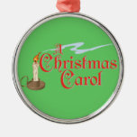 Un ornamento del villancico del navidad adorno redondo plateado