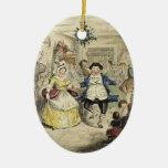 Un ornamento del villancico del navidad - la bola adorno navideño ovalado de cerámica