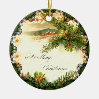 Un ornamento del vintage de las Felices Navidad Adorno Navideño Redondo De Cerámica