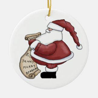 Un ornamento pasado del navidad de la mirada adorno navideño redondo de cerámica