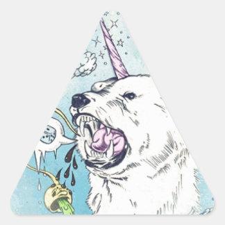 un oso polar del unicornio pegatina triangular